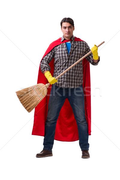 Super hero cleaner isolated on white Stock photo © Elnur