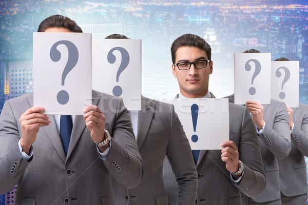 Zdjęcia stock: Biznesmen · odpowiedź · wiele · pytania · pracy · sukces