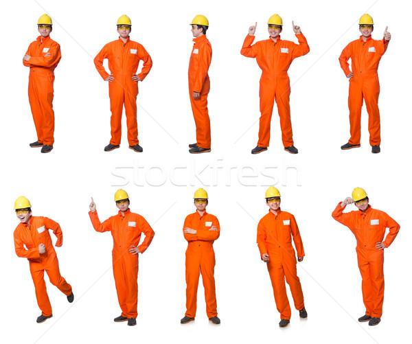 Przemysłowych pracownika odizolowany biały działalności budynku Zdjęcia stock © Elnur