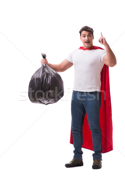Superhero man with garbage sack isolated on white Stock photo © Elnur