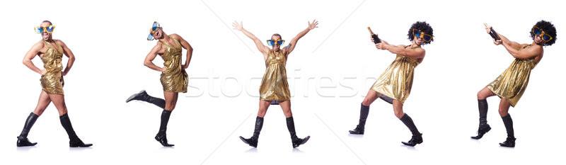 Man vrouwelijke kleding zingen grappig jonge Stockfoto © Elnur