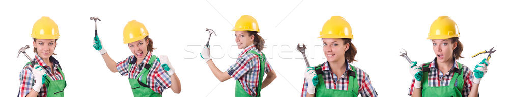 The female workman in green overalls isolated on white Stock photo © Elnur