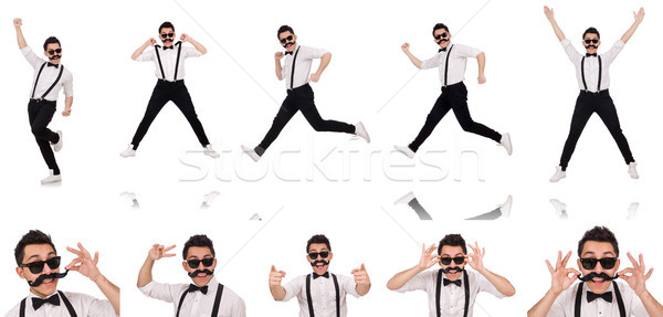 Stock photo: Young man with moustache isolated on white