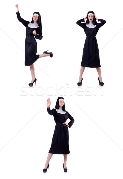 Young serious nun with sign stop isolated on white Stock photo © Elnur