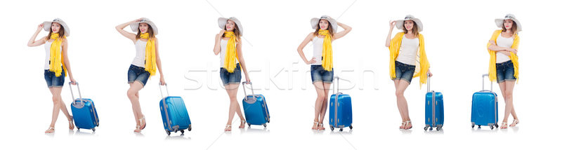 Woman going to summer vacation isolated on white Stock photo © Elnur