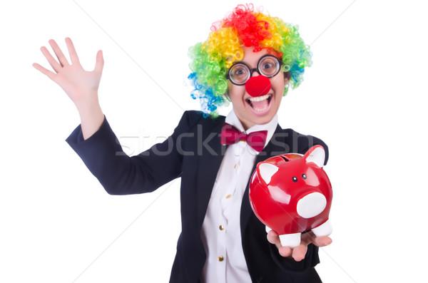 Biznesmen clown odizolowany biały kobieta ceny Zdjęcia stock © Elnur
