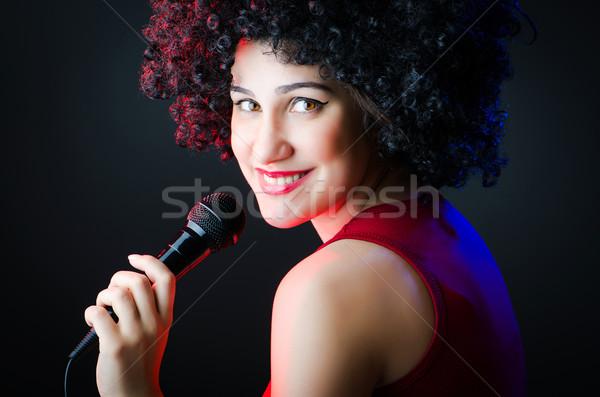 Női előadó diszkó buli boldog háttér Stock fotó © Elnur