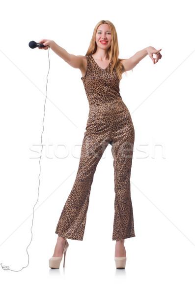 Female singer isolated on white Stock photo © Elnur