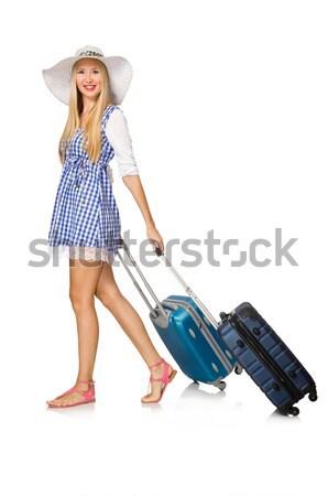 Bagage witte glimlach mode zomer Blauw Stockfoto © Elnur
