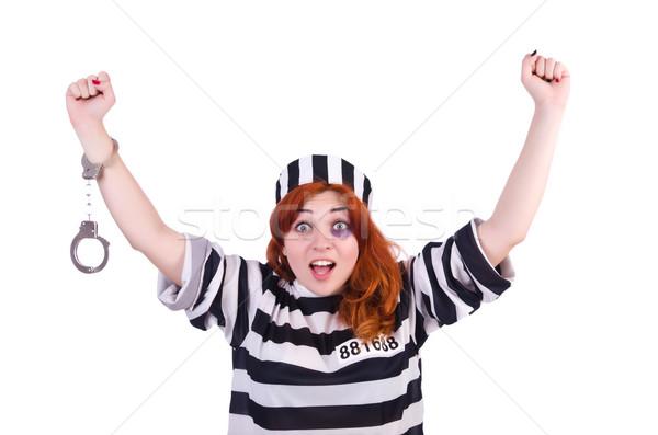 Prisioneiro listrado uniforme branco metal lei Foto stock © Elnur