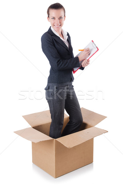 Woman with paper pad out of box Stock photo © Elnur