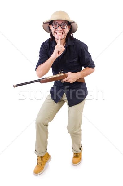 Vicces vadász visel szafari kalap férfi Stock fotó © Elnur