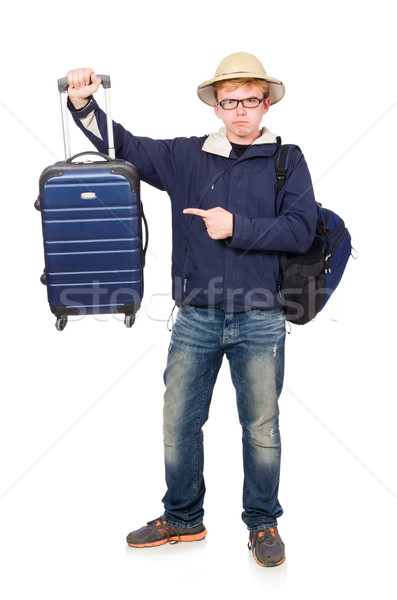Grappig man bagage safari hoed Stockfoto © Elnur
