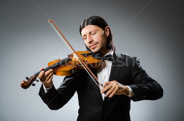 Férfi hegedű játékos jókedv hang férfi Stock fotó © Elnur