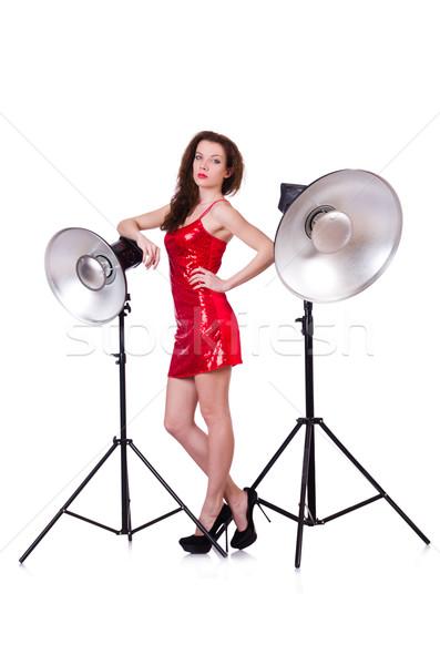 Nő vörös ruha pózol stúdió lány arc Stock fotó © Elnur