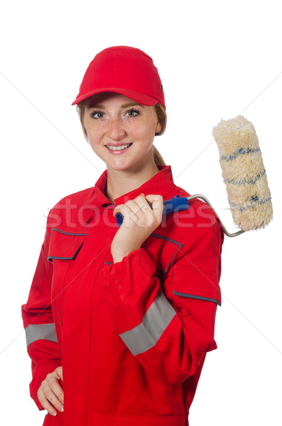 Woman painter in red coveralls isolated on the white Stock photo © Elnur