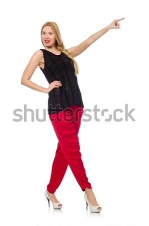 Kobieta taniec odizolowany biały sexy czerwony Zdjęcia stock © Elnur