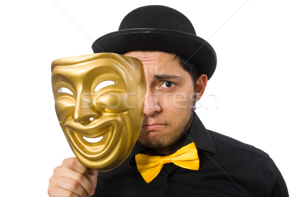 Young man with golden Venetian mask isolated on white Stock photo © Elnur