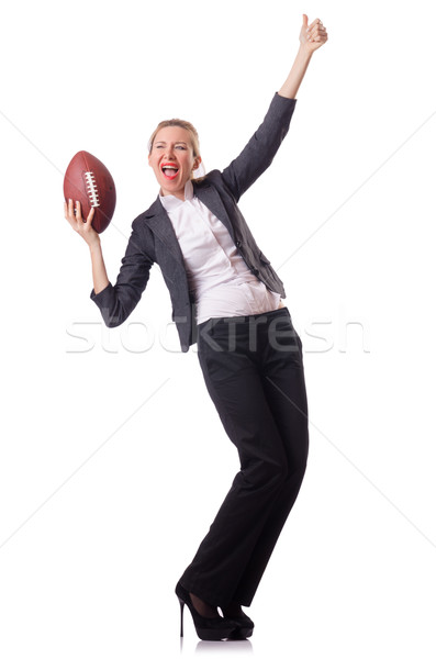 Preety office employee with rugby ball isolated on white Stock photo © Elnur