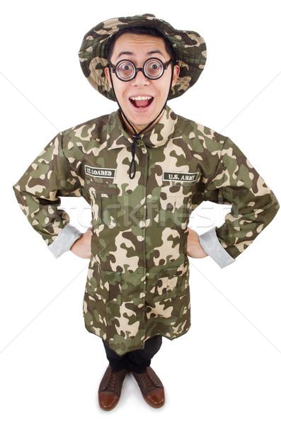 Funny soldado militar hombre fondo guerra Foto stock © Elnur