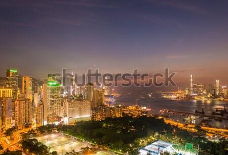 мнение Гонконг закат небе здании город Сток-фото © Elnur