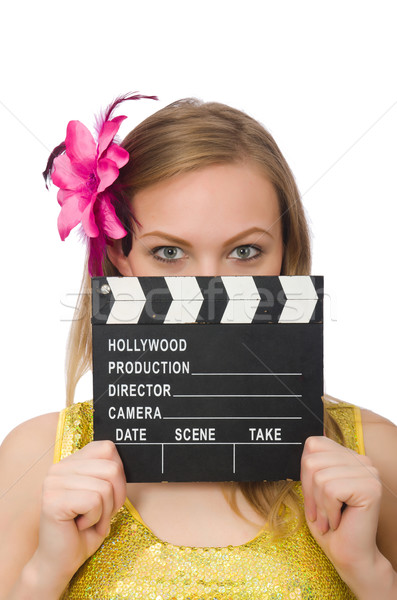 Young woman with movie board isolated on white Stock photo © Elnur