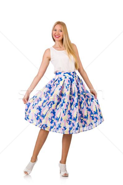 Jonge vrouw mode vrouw Blauw kleding witte Stockfoto © Elnur
