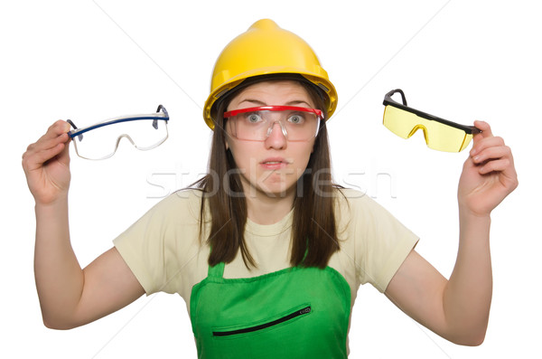 Woman wearing hard hat isolated on white Stock photo © Elnur