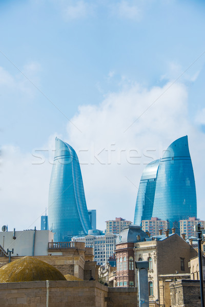 View of Baku with modern buildings and old city Stock photo © Elnur