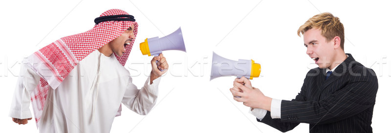 Affaires homme parler isolé blanche Photo stock © Elnur