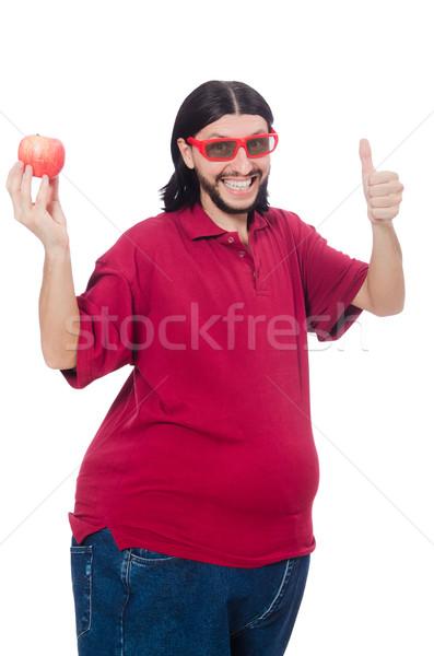 Fettleibig Mann isoliert weiß Obst Gesundheit Stock foto © Elnur