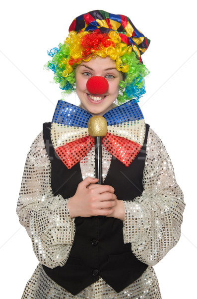 Female clown with maracas isolated on white Stock photo © Elnur