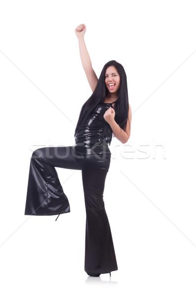 Jonge vrouw leder pants geïsoleerd witte Stockfoto © Elnur