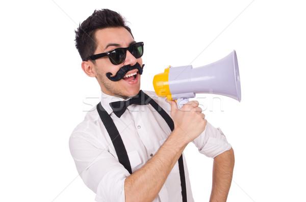 émotionnel homme haut-parleur isolé blanche fond Photo stock © Elnur