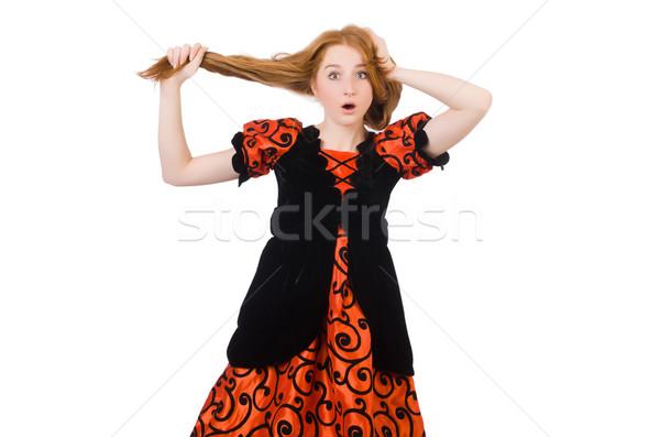 Meisje oranje jurk geïsoleerd witte Stockfoto © Elnur