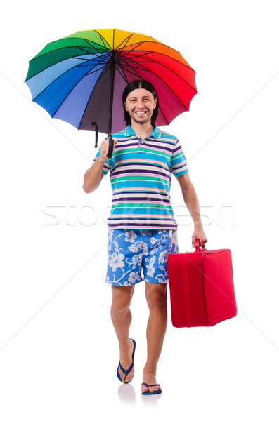 Utazó piros tok esernyő izolált fehér Stock fotó © Elnur