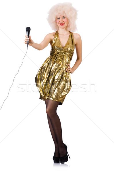 певицы микрофона изолированный белый фон красоту Сток-фото © Elnur