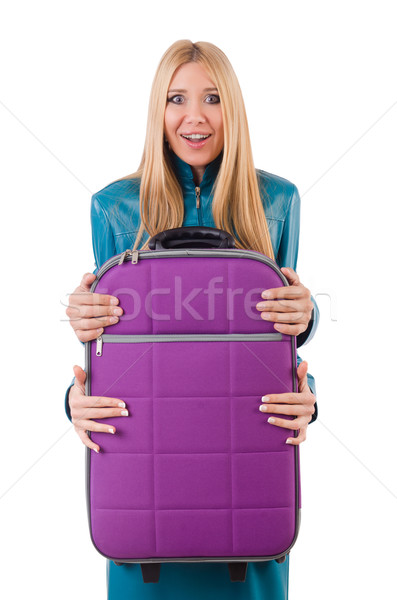 Pretty girl and man holding suitcases isolated on white Stock photo © Elnur