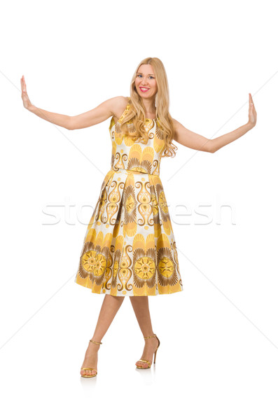 Young woman wearing long summer dress isolated on white Stock photo © Elnur
