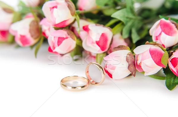 Fedi nuziali fiori isolato bianco fiore wedding Foto d'archivio © Elnur