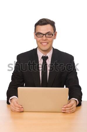 Jovem empresário isolado branco trabalhar estudante Foto stock © Elnur