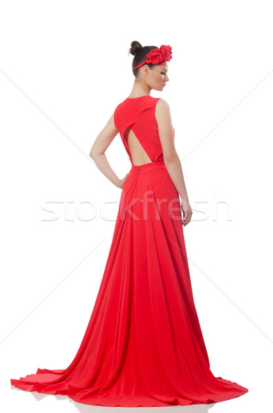 Pretty caucasian model in red long evening dress isolated on whi Stock photo © Elnur