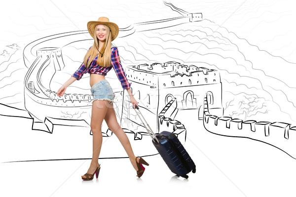 Stock fotó: Fiatal · nő · utazás · Kína · lát · Nagy · Fal · boldog