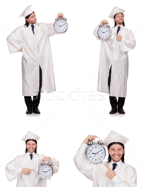 Young man student with clock isolated on white Stock photo © Elnur
