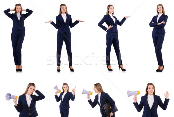 The businesswoman with loudspeaker isolated on white Stock photo © Elnur