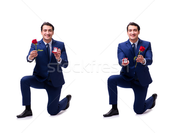 The romantic concept with man making marriage proposal Stock photo © Elnur
