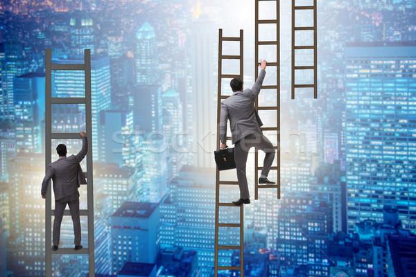 ストックフォト: ビジネスマン · 登山 · キャリア · はしご · ビジネス · 執行