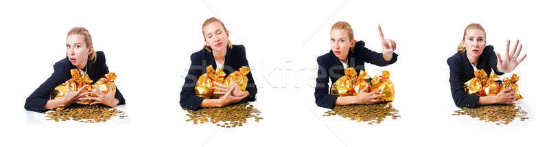 Woman with coins and golden sacks Stock photo © Elnur