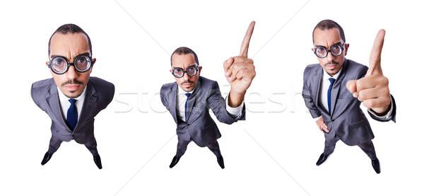 Engraçado nerd empresário isolado branco trabalhar Foto stock © Elnur