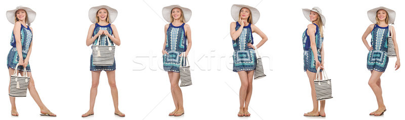 The collage of woman with panama hat isolated on white Stock photo © Elnur